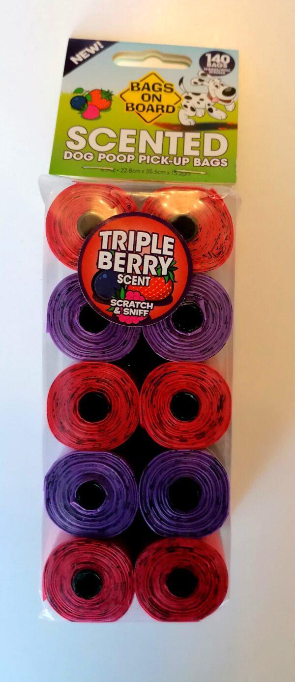SCENTED TRIPLE BERRY REFILL ROLLS – 140 (uogų kvapo maišeliai ekskrementams surinkti)