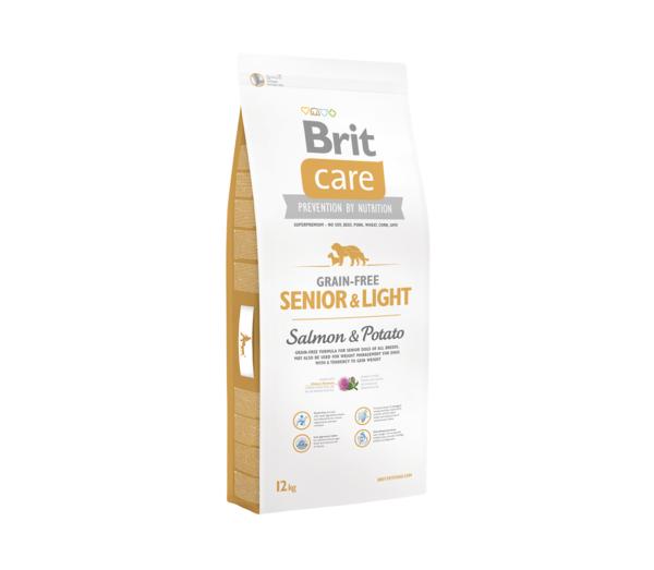 BRIT CARE Senior&Light Salmon&Potato sausas maistas šunims
