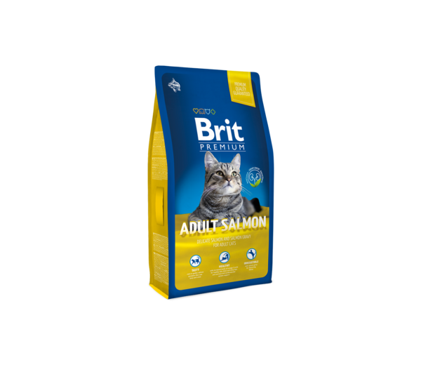 BRIT Premium Cat Adult Salmon sausas maistas katėms su lašiša ir lašišos padažu