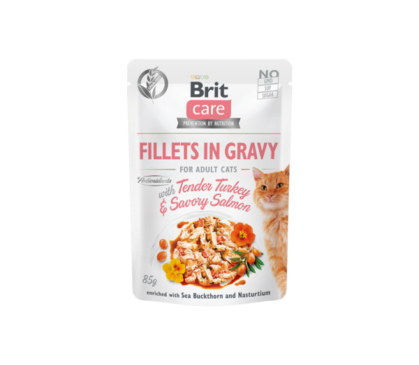 Brit Care Cat konservai katėms Fillets in Gravy Turkey & Salmon 85 g