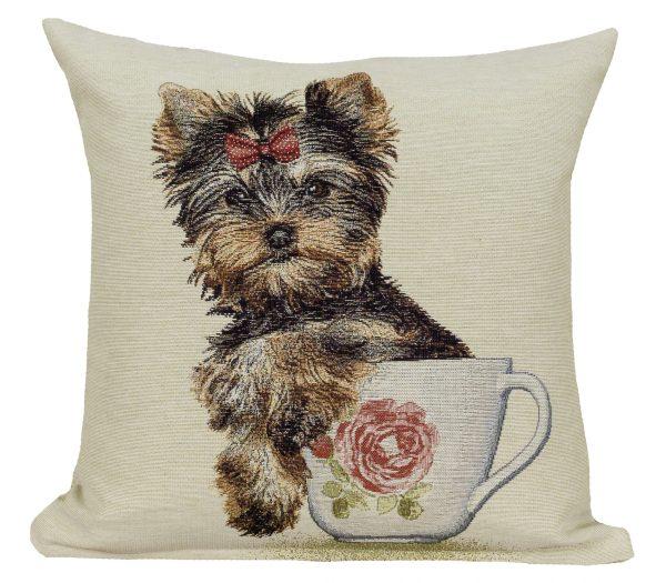 Dekoratyvinė pagalvėlė iš gobeleno 45×45 Jorkšyro terjeras