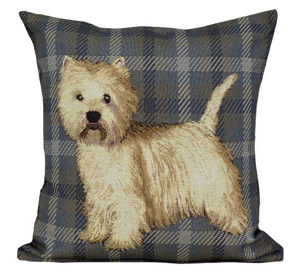 Dekoratyvinė pagalvėlė iš gobeleno 45×45 Vakarų Škotijos baltasis terjeras