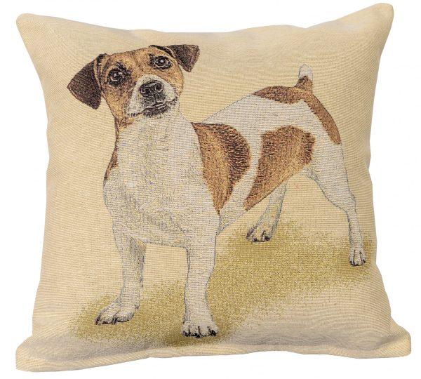 Dekoratyvinė pagalvėlė iš gobeleno 45×45 Džeko Raselo terjeras