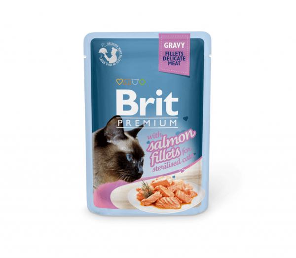 Brit Premium konservai katėms Salmon for Sterilised in Gravy