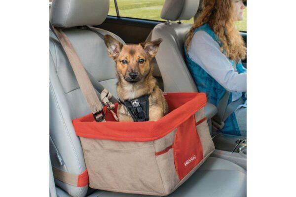 Kurgo automobilinė kėdutė šunims, raudona su ruda
