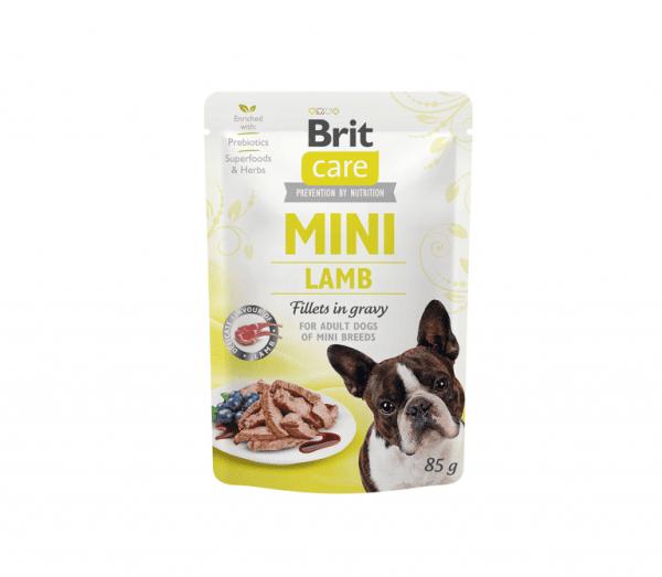 Brit Care konservai šunims maišeliuose Lamb fillets in gravy 85g