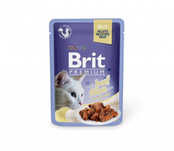 Brit Premium Delicate konservai katėms Beef in Jelly