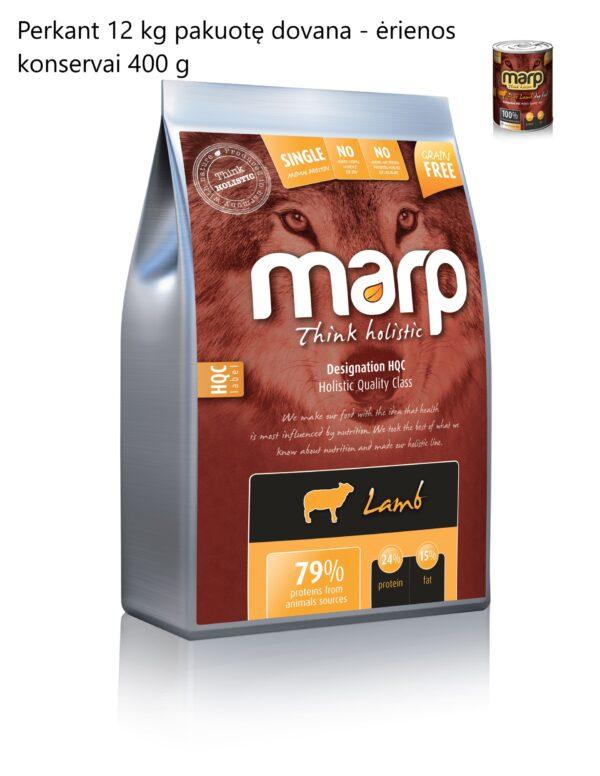 Marp holistinis sausas maistas šunims su ėriena 12 kg + ėrienos konservai 400 g