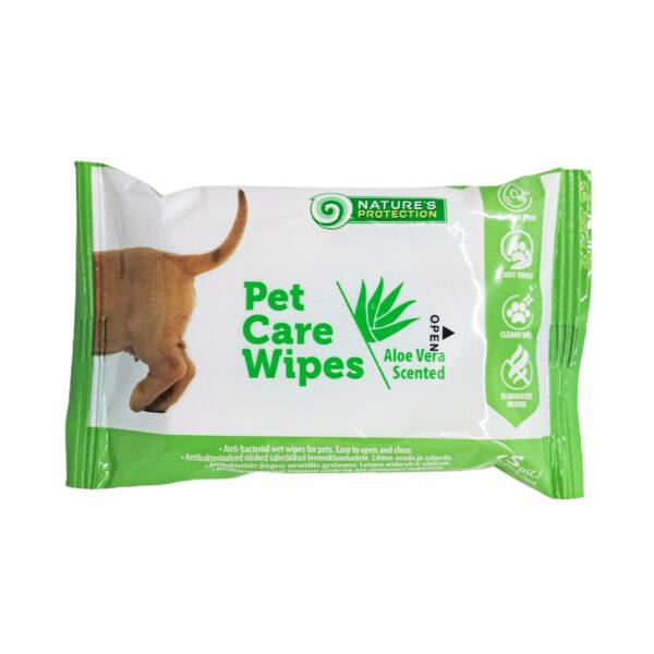 NATURE'S PROTECTION Antibakterinės gyvūnų priežiūros servetėlės