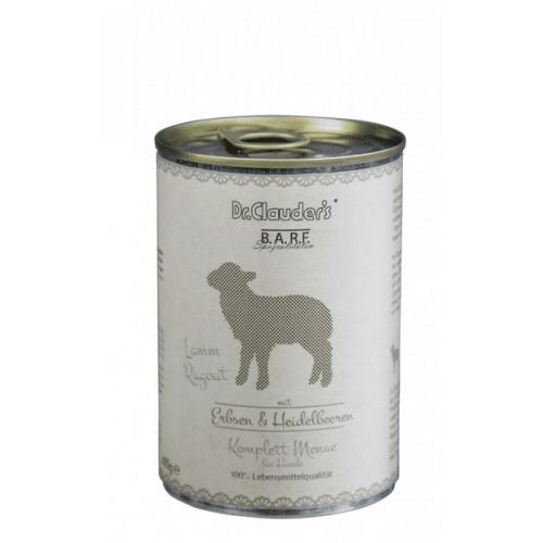 DR CLAUDERS BARF mėsos ir daržovių konservai šunims su ėriena 400g